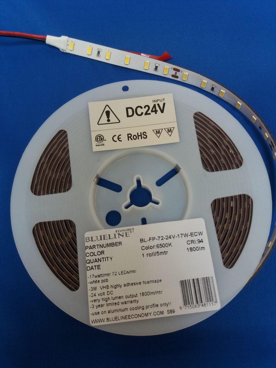 blueline high power led strip 17w 2600lm ra90 ho 6500k 24v