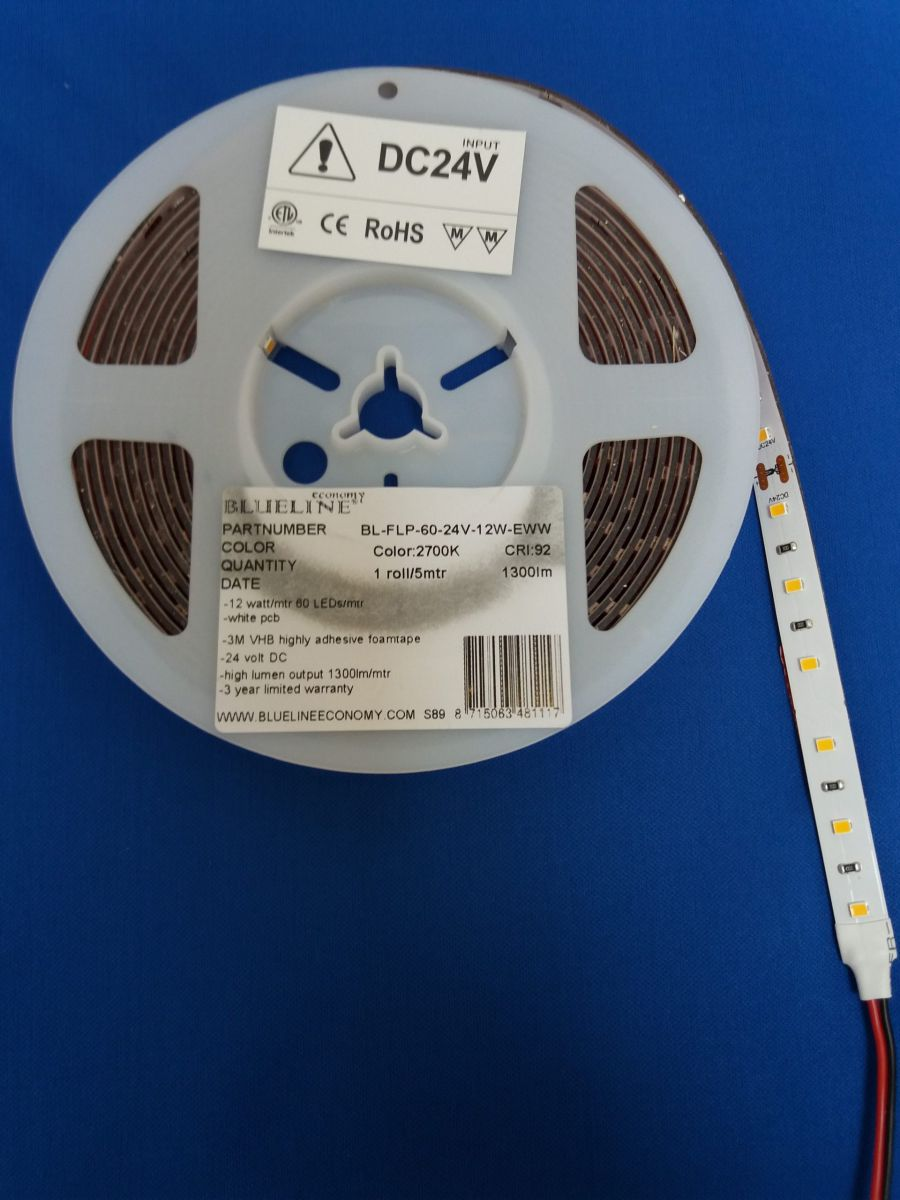 blueline low power led strip 96w 1300lm ra90 ho 2700k 24v