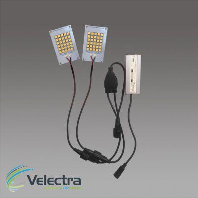 duo set 2x led modulen 3000k 5x 8 cm 150 lm/w leds + seriekabel + 500mA driver 1360 lumen