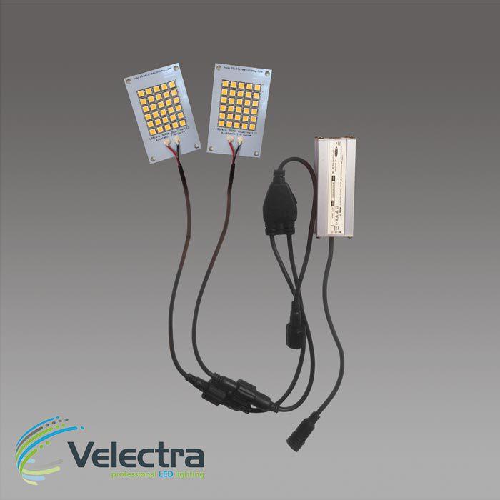 duo set 2x led modulen 3000k 5x 8 cm 150 lmw leds seriekabel 500ma driver 1360 lumen