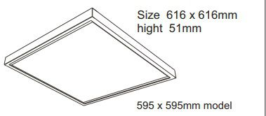 luxe schroefloos opbouw frame 595 x 595mm wit
